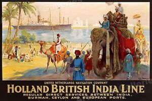 See India - Holland British India Line 1930s Vintage Style Travel Poster - 16x24