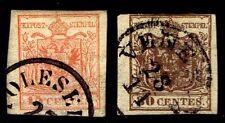 1850 Austria Lombardy-Venetia #4f & 5 Coat Of Arms - Used - Fine+ - $56 (E#2228)