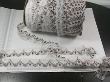 """Closeout Bolt Lace 1 1/4"""" White & Brown Medium Softness 50 Yards"""
