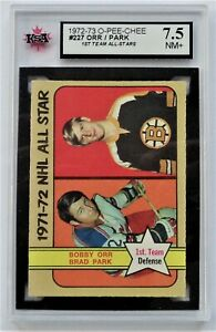 1972-73 O-Pee-Chee Bobby Orr Brad Park #227 KSA Graded NM Near Mint+ 1973