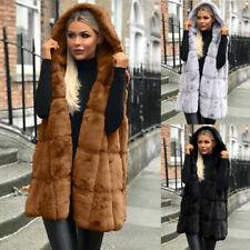 Women's Faux Fur Gilet Vest Sleeveless Waistcoat Hooded Long Jacket Coat Outwear