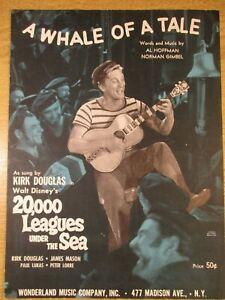 WALT DISNEY'S A WHALE OF A TALE SHEET MUSIC KIRK DOUGLAS 20,000 LEAGUES... 1952