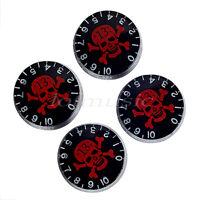 4 x Guitar Speed Knobs w/ red Skull &Crossbone Logo Transparent Top Control Knob
