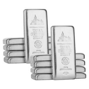 10 x 10 oz Wall Street Mint .999 Silver Bars 100 Troy Oz. Silver Bullion #A517B