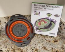 2Pcs Set Collapsible Foldable Silicone Colander Fruit Food Grade Strainer orange