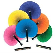 (12) Solid Color Folding Paper Fan Hand Held Personal Set Luau Birthday Party