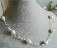 charme 9-10mm weiß Süßwasserperle grau Leder Halskette 17 zoll