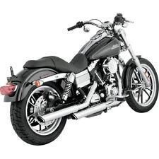 "Vance Hines Chrome 3"" Round Twin Slash Slip-On Mufflers 91-17 Harley Dyna"