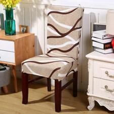 Brown Abstract Wave Pattern Dining Chair Cover Slipcover