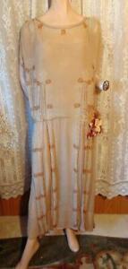1920s EGYPTIAN REVIVAL TAN BEADED FLAPPER DRESS L/XL
