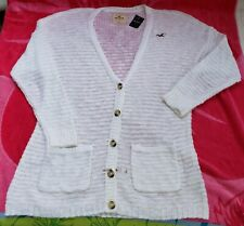 NWT Hollister Womens Button Front Cardigan Size Medium Sweater Long White Pretty