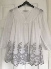 The White Company White & Grey Top Size 12