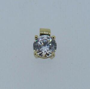 DQCZ 14k Yellow Gold .93ct Round Cubic Zirconia Pendant - .71 Grams