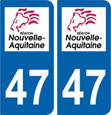 REGION AQUITAINE / 2 STICKERS AUTOCOLLANT PLAQUE IMMATRICULATION DEPARTEMENT 47