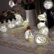 Cool White 20 LED Rose Flower Xmas String Lights Fairy Wedding Garden Decor