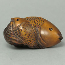 Japanese 1940's Netsuke Boxwood Wood Handcrafted 2 Carp Fishes Koi Carving WN279