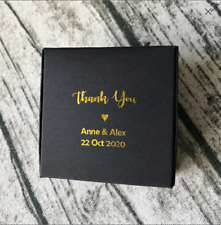 20x Black Paper Boxes Gold Foil Wedding Party Favour Box Personalised Gift Boxes