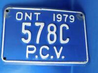ONTARIO LICENSE PLATE 1979 PCV 578C VINTAGE CANADA SHOP MAN CAVE SIGN