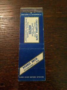 Vintage Matchcover: Barbis Bros. California Cafe, Merced, CA  54