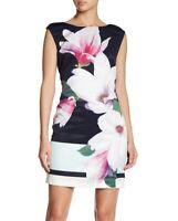 London Dress Company 153509 Women's Nora Floral Shift Dress Black Sz. 2 US
