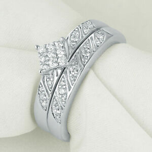 Round White Cz 925 Sterling Silver Wedding Engagement Ring Set For Women Size 5