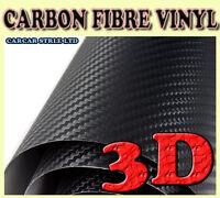 3D【Black 0.3m(11.8in)x0.75m(29.5in)】CARBON FIBRE Black Wrap Vinyl Sheet Sticker