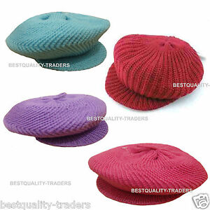 A\LADIES BAKER BOY CHUNKY KNIT PEAK HAT CADET CAP  WARM WITH STYLE AND FASHION