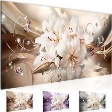 Wandbild XXL Modern Wohnzimmer - Blumen Lilien Beige Braun - Schlafzimmer Bilder