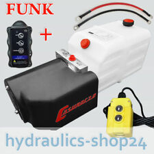 Hydraulikpumpe + FUNK, 7L 12V Hydraulikaggregat für LKW Kipper Anhänger Stapler