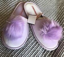 New Victoria Secret Pom Pom Slippers Purple Medium 7-8