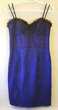 New Jill Stuart Black/Cobalt Floral Lace Cocktail Dress Size 4