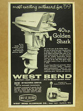 1959 West Bend 40 hp GOLDEN SHARK Outboard Motor vintage print Ad