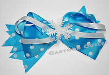 6 BOWS CLIPS BARRETS BLUE PARTY FAVORS  RECUERDOS SNOW FLAKE ICE PRINCESS GIRLS