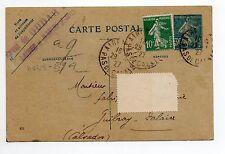 FRANCE Entier postal au type SEMEUSE carte postale 30 cts Bleu oblitéré 1927