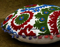 """INDIAN SUZANI EMBROIDERED PILLOW CUSHION COVER Decorative Round Throw 16"""""""