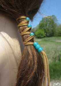 Pig Tail Holders Leather Hair Wrap Tie GLASS Beads Native American Hair Jewelry