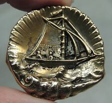 BRASS PICTURE BUTTON ~ SAILING SHIP  METAL BOAT