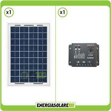 Kit Starter Solare 10W 12V pannello NX + regolatore 5A giardino camper nautica