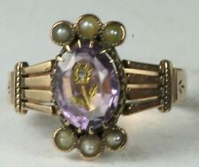 VICTORIAN ANTIQUE 14K ROSE GOLD 24K GOLD INLAID AMETHYST PEARL RING SIZE 8.25
