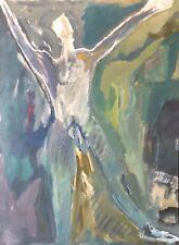 Art contemporain grande gouache fin du XXe L'homme  64,7 cm par 47,5 cm