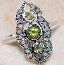 Bague Art Déco filigrane en Argent massif 925, Vrai Améthyste vert, Opale de Feu