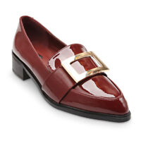 Top Front Gold Buckle Band Detail Patent Leather Loafers