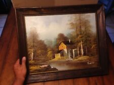Original Old  Mill Oil on Canvas Painting Signed by Artist H Wilson