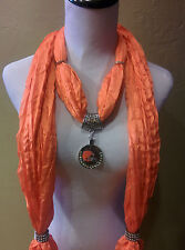 Cleveland Browns Licensed Rhinestone Pendant on an Orange Shimmer jewelry scarf