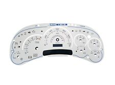 03 04 05 07 GMC & Chevy Instrument Cluster Faceplate  White w/ Blue Numbers