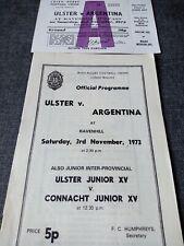 More details for ulster vargentina 3rd november 1973 programme  & ticket