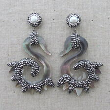 White Pearl Black Mother Of Pearl Carved Earrings