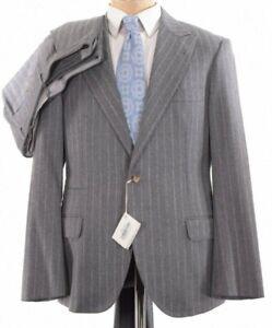 Brunello Cucinelli NWT Suit Size 42 In Gray & White Chalkstripe Flannel $3,995
