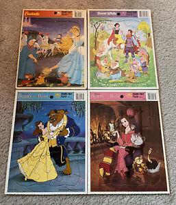 Golden Frame-Tray Puzzles Lot of 4 Disney Princess Cinderella Snow White Belle