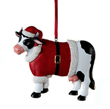 KURT ADLER RESIN CHRISTMAS DAIRY COW WEARING SANTA SUIT CHRISTMAS ORNAMENT
